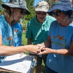 Melitta Smole (left) and Diane Baulch tagging a Monarch and recording data (Brian swears they're holding a butterfly).